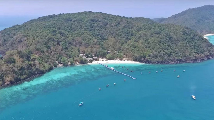 Aerial view of the Koh He Island (Coral Island) Beach