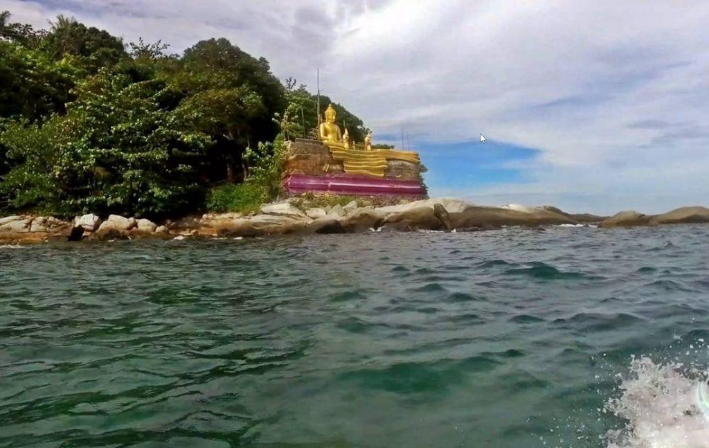 View from the sea of the large Buddha on Koh Kaeo Yai Island