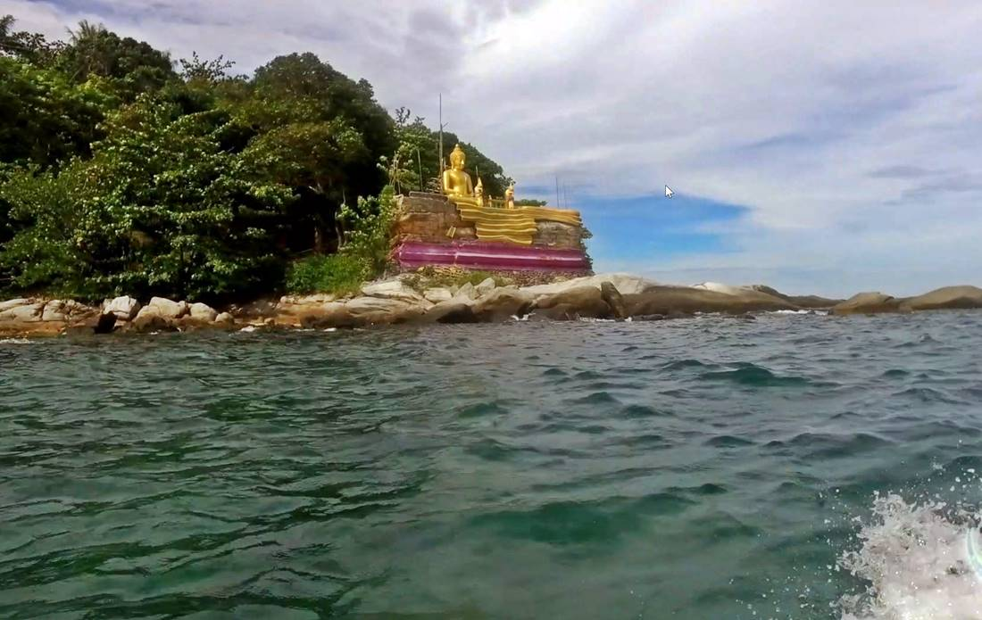 View from the sea of the large Buddha on Koh Kaeo Yai Island