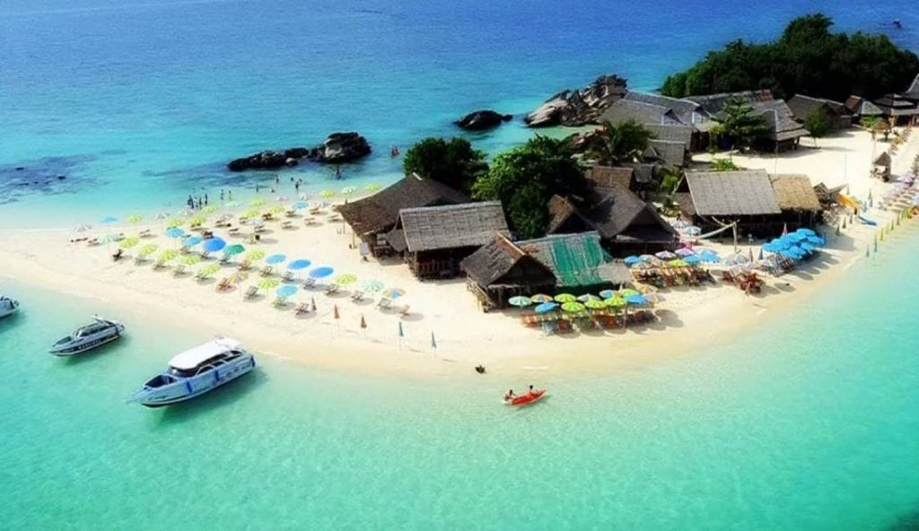 Aerial view of the large triangular sandy beach on Koh Khai Nok Island