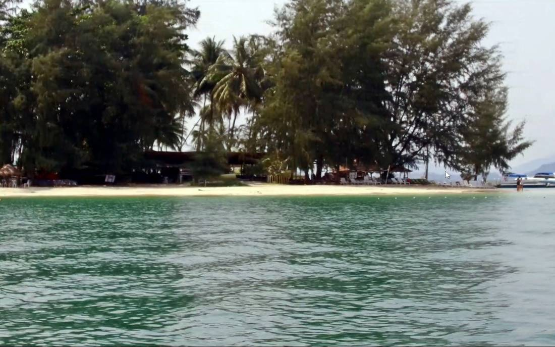 View from the boat of Koh Naka Noi Island Beach