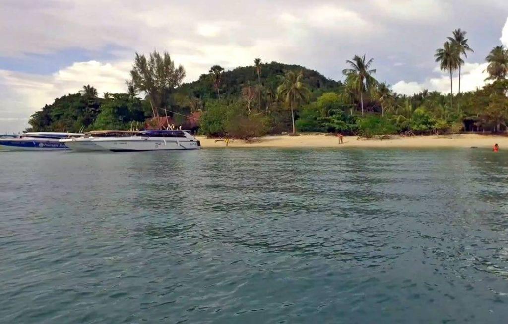 View from the sea of Koh Rang Yai Island Beach