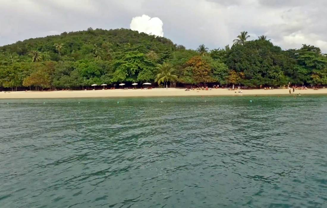 View from the boat of Koh Rang Yai Island Beach